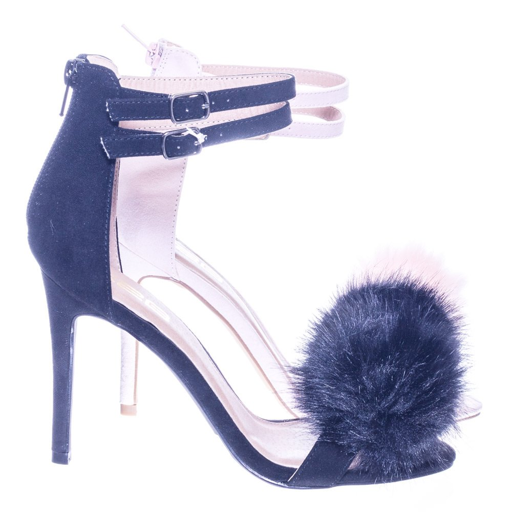 X2B Double Strap High Heel Faux Fur Pompom Women Open Toe Dress Sandal