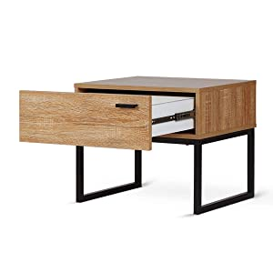 INDIAN DECOR 4525 Bedside Table Nightstand with 1 Drawer; Wood, Steel Leg, MDF