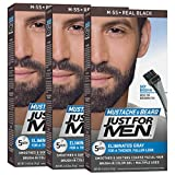 Facial Hair Removal Styles - Just For Men Mustache & Beard Brush-In Color Gel, Real Black (Pack of 3, Packaging May Vary)