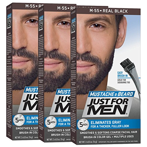 Just For Men Mustache & Beard Color, Beard Coloring for Men, Real Black, 3 Count