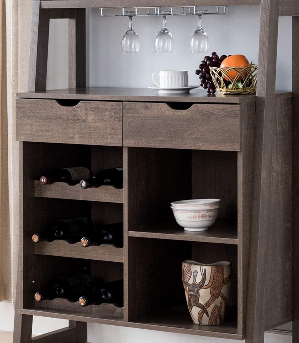 182282 Mid Century Modern Wine Bar Cabinet 34 Inch Wine Rack Organizer Walnut Oak Color
