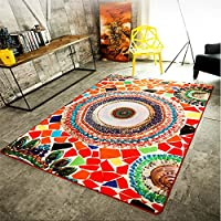 LELVA Modern Multicolor Bedroom Rugs Sofa Mats Bohemian Decor Rugs Living Room Rugs Non-slip Easy Care (160CM x 230CM)