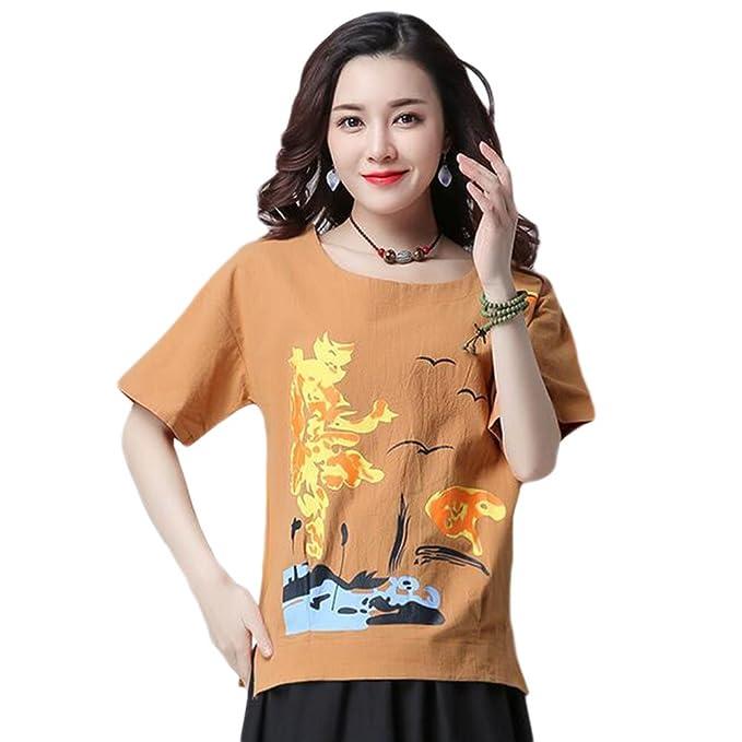 Hzjundasi Mujer Manga corta Imprenta Casual Camiseta de manga corta Suelto Respirable Verano Blusas Tops: Amazon.es: Ropa y accesorios