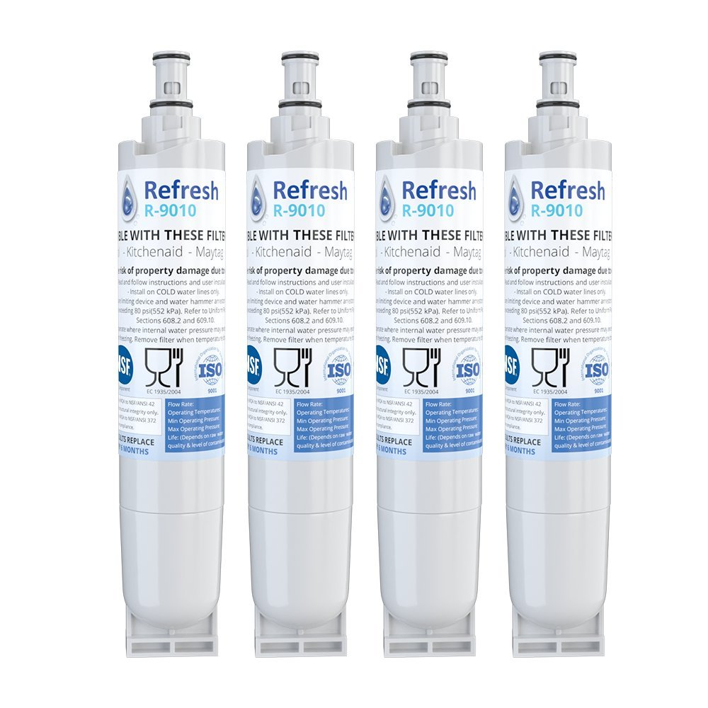 Refresh Replacement for Kenmore 46-9010, 469010, 9010, 46-9085, 9085, AQUACREST AQF-4396508, Aquafresh WF285 and IcePure RFC0500A Refrigerator Water Filter (4 Pack)