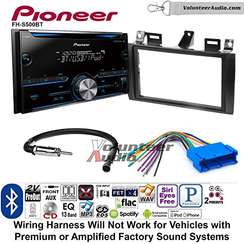 Volunteer Audio Pioneer FH-S500BT Double Din Radio Install Kit with CD Player Bluetooth Fits 2000-2005 Cadillac Deville, 1996-2004 Seville (Cd Mix Dual Player 2)