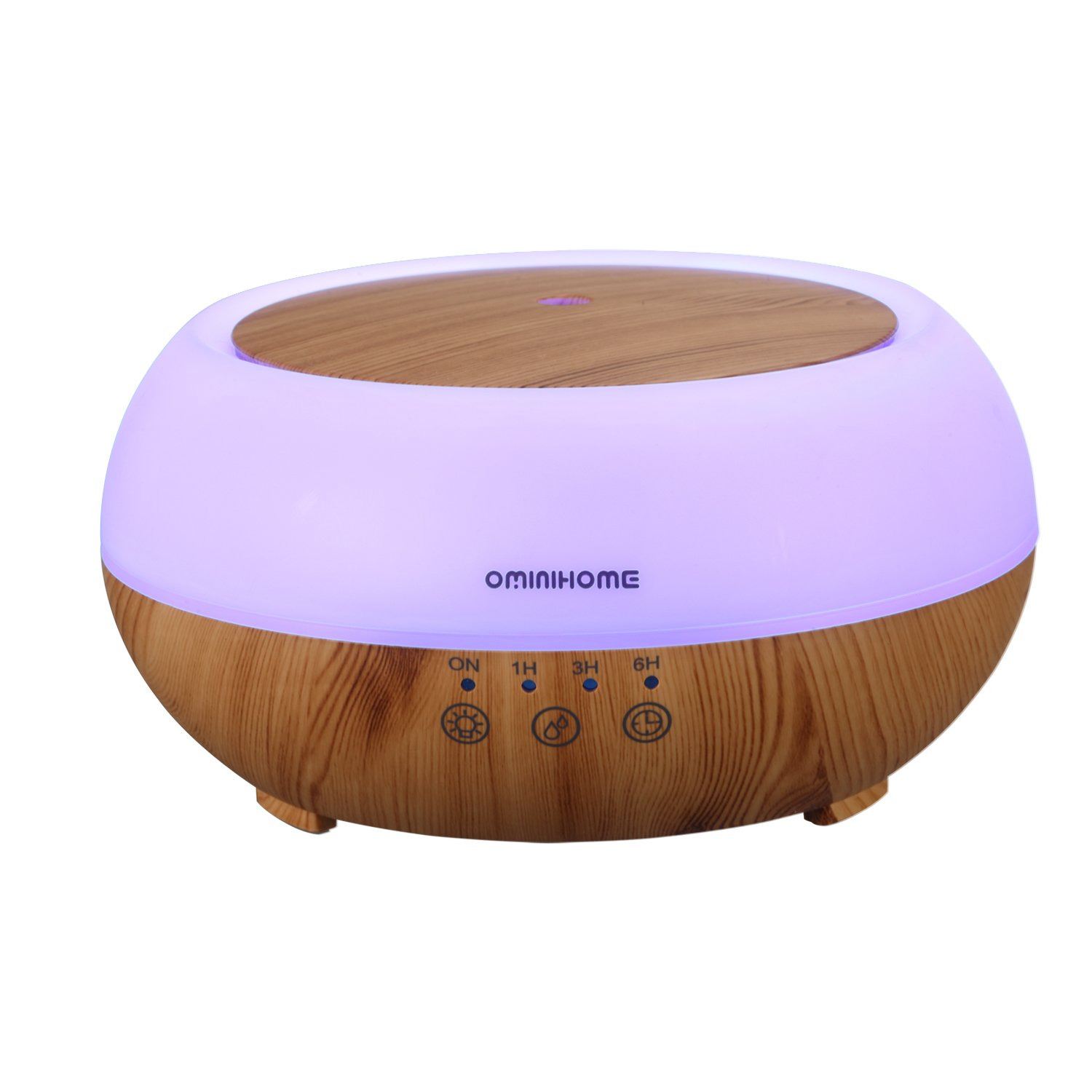 Ominihome Aromatherapy Essential Oil Diffusers, 300ml Ultrasonic Air Humidifier with 4 Timer Settings,7 Color Changing LED Waterless Auto off Wood Grain, 2 Mist Mode, College Graduation Gift