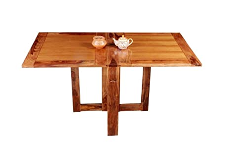 Home and Bazaar Hand Made Sheesham Wood Plain Top Folding Dining Table 6 Seater
