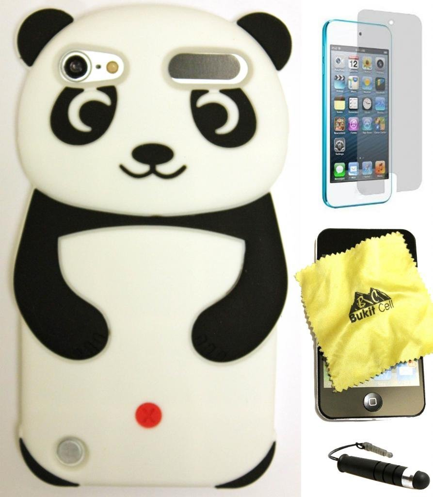 Bukit Cell Black Panda 3d Silicone Cute Lovely Fun Case for Ipod Touch 6th/ 5th Generation lint clean ing Cloth + Screen Protector + Metallic Stylus PEN Ipod touch 6 / 5