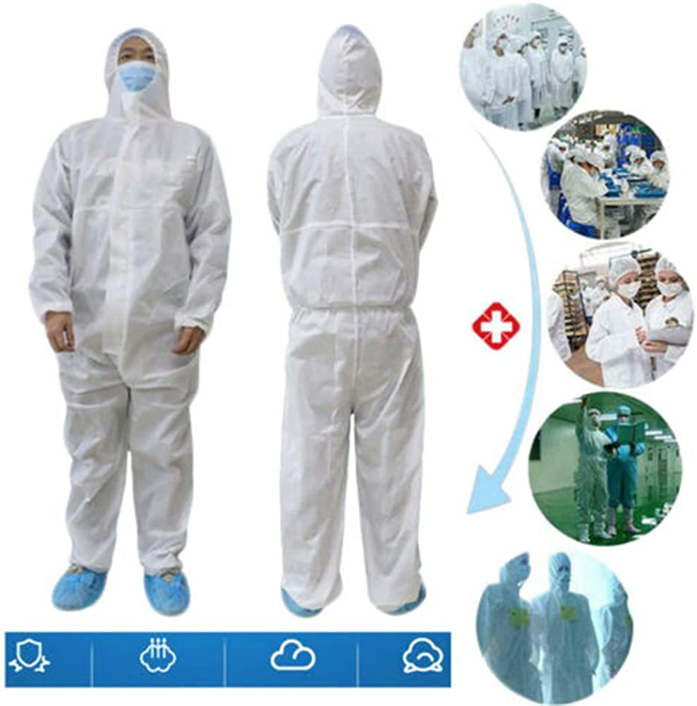 Zamons Disposable Protective Clothing Coveralls Suit with Hood Hazmat Safety Coverall Isolation Suit