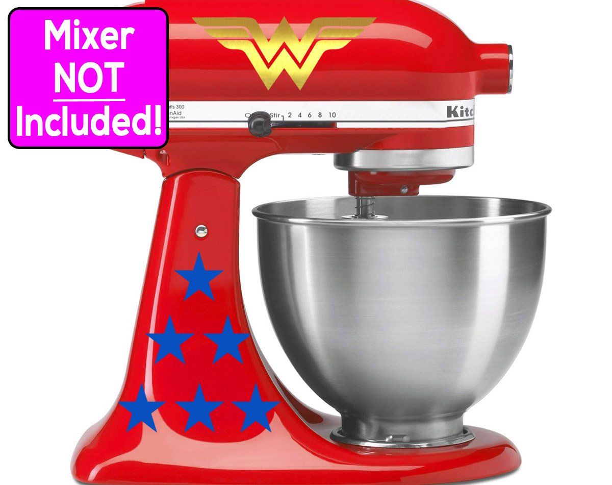 Wonder Woman sticker set for KitchenAid stand mixers. (Metallic Gold logos w/blue stars) NO MIXER INCLUDED - Decals ONLY