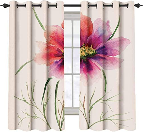 Watercolor 2 pcs 52×36 Blackout Drapes,Beautiful Two Colored Flower Blossom Nature Spring Revival of Life Decorative Grommet Top Window Treatment Blackout Panel Curtain for Small Window,Fuschia Red D
