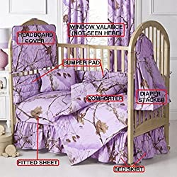Realtree All Purpose Lavender 7 Pc Baby Crib Set - Gift Set, Save By Bundling!