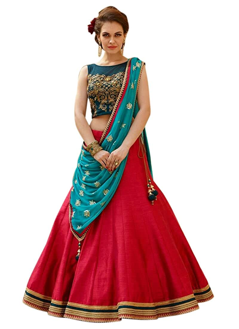 e17a700e59bd46 Pramukh Fashion Women s Banglori Silk Party Wear Crop-Top and Lehenga (Red