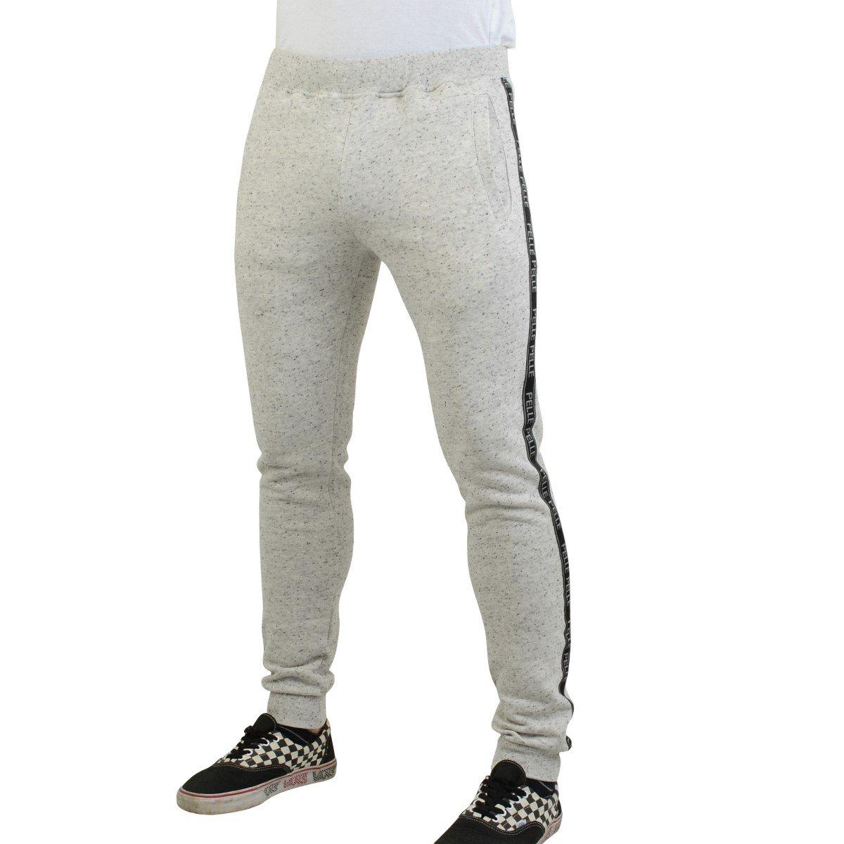 Pelle Pelle Slim Fit Jogginghose Herren Tapemaster hellgrau - fällt normal aus, schmales Bein