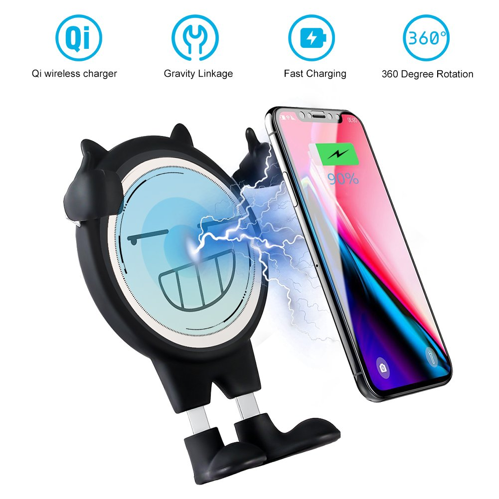 Wireless Car Charger, AYOUYA Air Vent Phone Holder Qi Wireless Charging 2-in-1 Car Mount Charger for Qi Enabled Devices iPhone 8 iPhone 8 Plus iPhone X Samsung Galaxy Note 8 S8 S8 + S7 S7 edge S6 edge