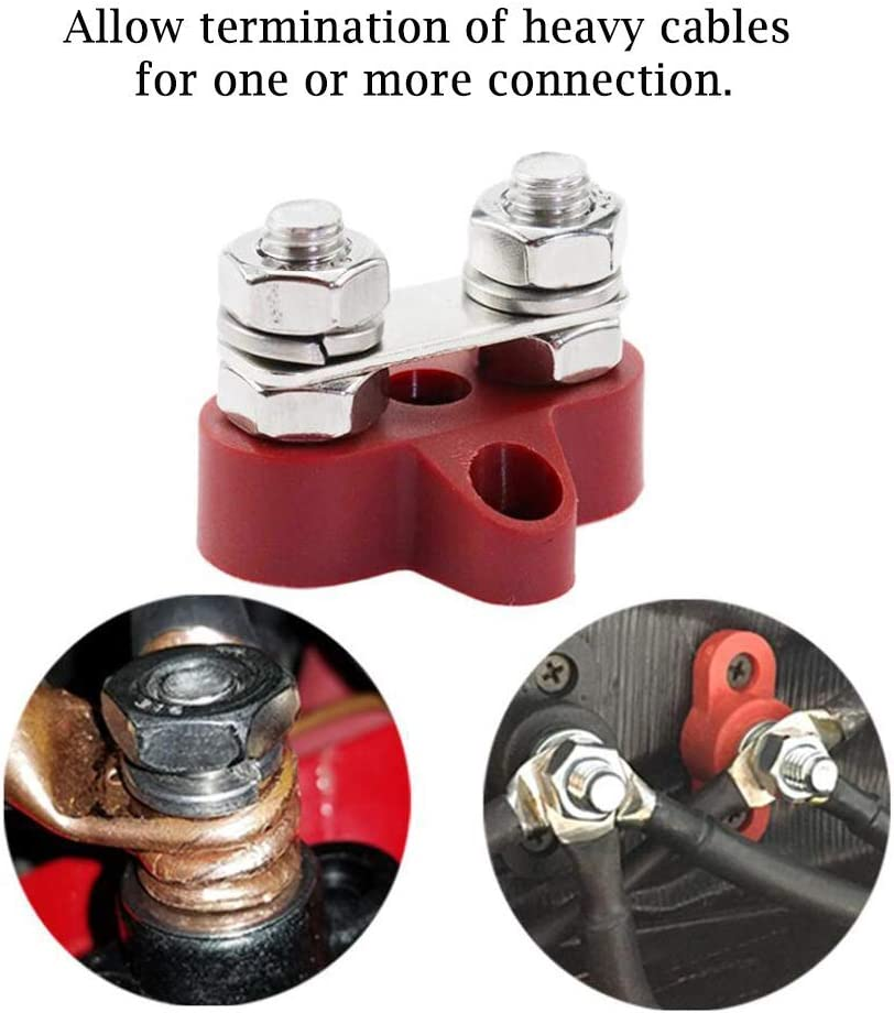 Heart Horse 5//16 Teriminal Stud M8 48V Junction Block Bus Bar Insulated Dual 2 PCS Heavy Duty Power Distribution Post for Truck RV Boat Black+Red