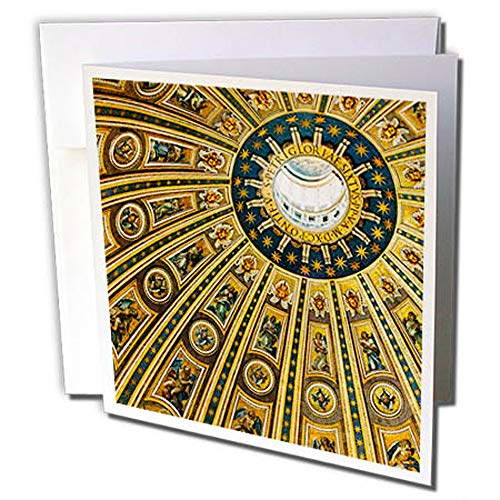 3dRose Vatican City, Italy, Ceiling of Dome, St, Peters Basilica Greeting Card (gc_277596_2)