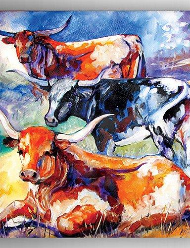 XM Ölgemälde drei Kühe handgemalte Leinwand mit gestrecktem eingerahmt fertig zum Aufhängen