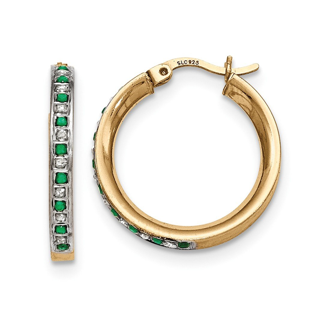 ICE CARATS 925 Sterling Silver Gold Plated Diamond Green Emerald Round Hoop Earrings Ear Hoops Set Fine Jewelry Ideal Mothers Day Gifts For Mom Women Gift Set From Heart