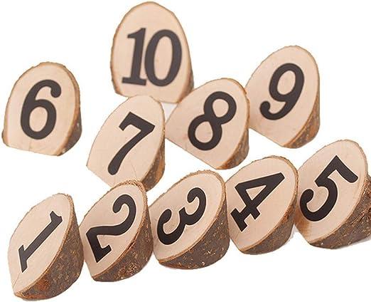 SparY Números Tarjetas Juego 1-10 Centros Mesa Madera Rebanada ...