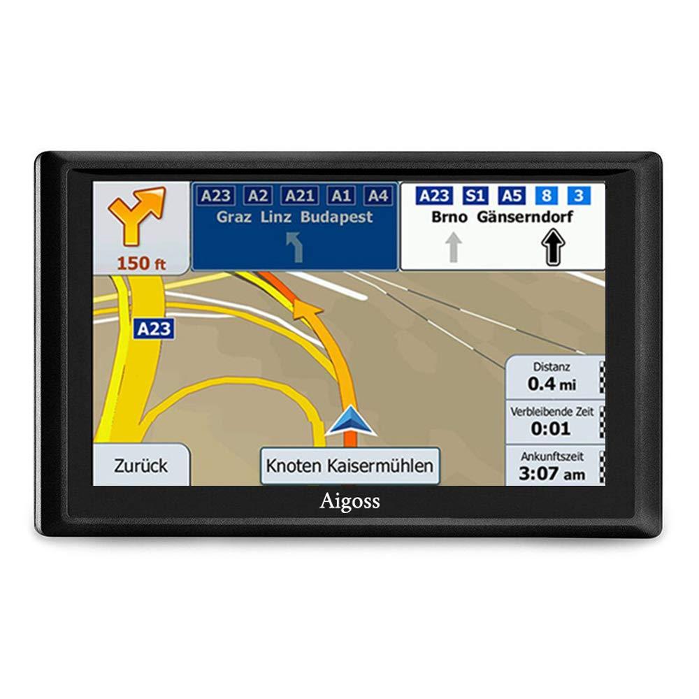 Aigoss Navigation f/ür Auto 7 Zoll Touchscreen 8GB GPS Navi Navigationsger/ät mit Bluetooth POI Sprachf/ührung Fahrspurassistent LKW PKW KFZ mit Lebenszeit Kostenlose Kartenupdates 2019 Europa Karten