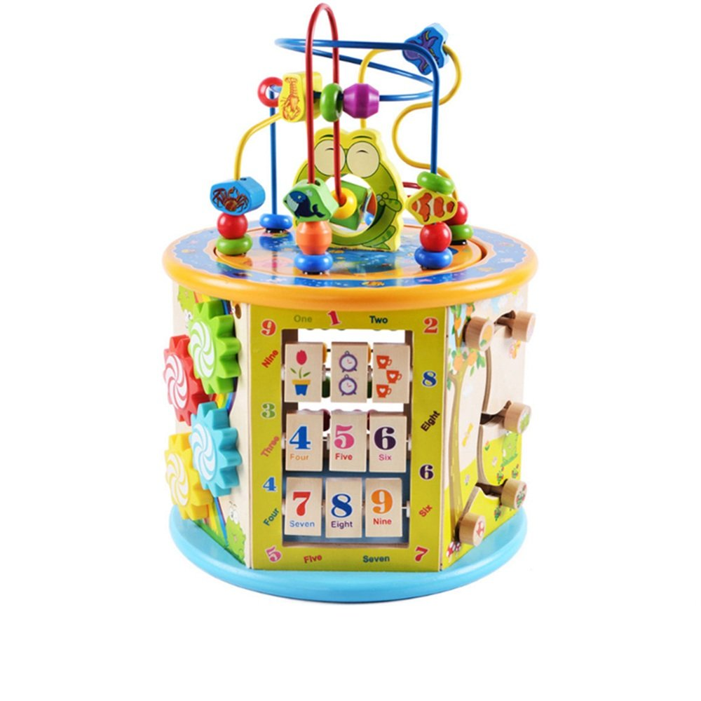 MEIDUO toys Multifunction Bead Treasure Chest Children's Puzzle Beaded Wooden Toys for 1-4 years old