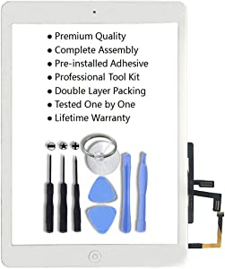for iPad 5 iPad Air 1st Model A1474 A1475 Digitizer Replacement Screen Replacement Glass Replacement Kit - Includes Home Button Camera Holder Pre Installed Adhesive Stickers and Professional Tools