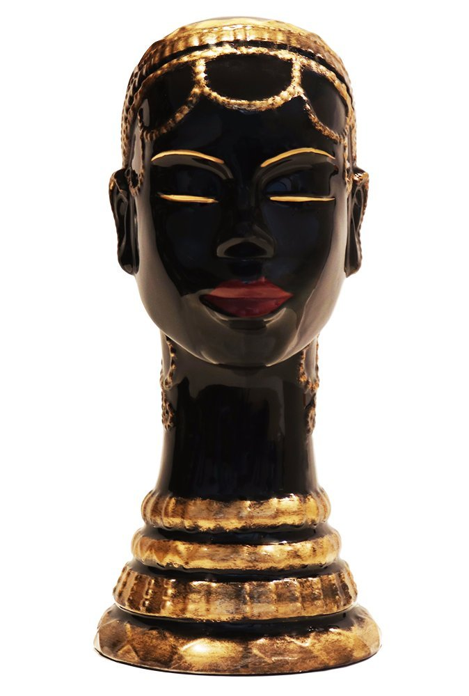 AFRICAN LADY WITH NECKLACE STATUE FIGURINE 13 H, 80752 BY ACK