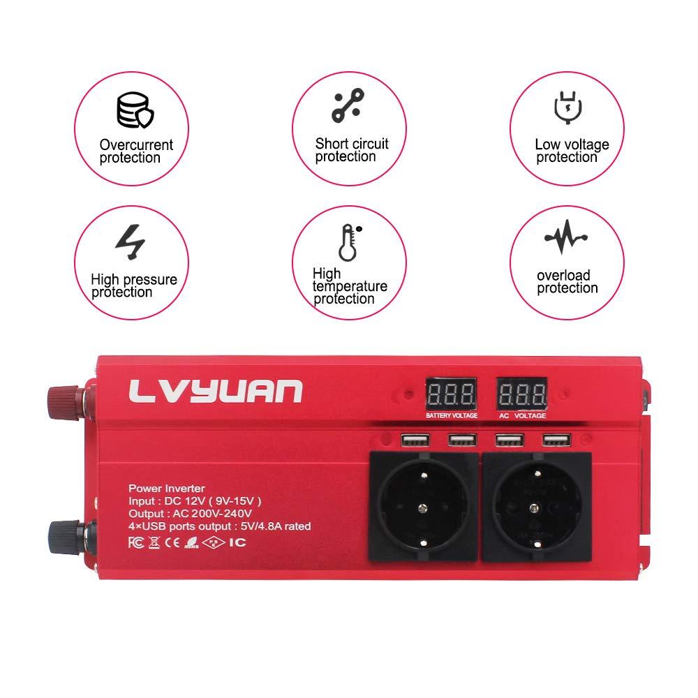 Yinleader Convertisseur 12v 220v 1000W//2000W onde sinuso/ïdale modifi/éeconvertisseur avec 4 USB ports 3 prises CA