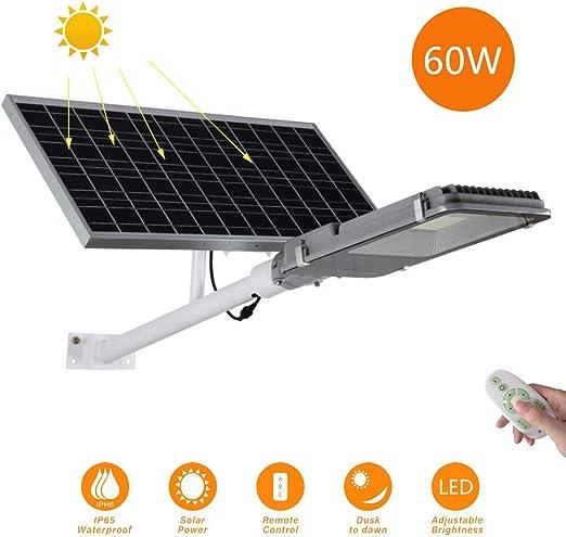 Luces de inundación solar Farola solar LED Brillo alto Luz de seguridad Con control remoto IP65 a prueba de agua Luz de jardín Lámpara de ingeniería Adecuado para Patio, Iluminación Solar Vial,60W: