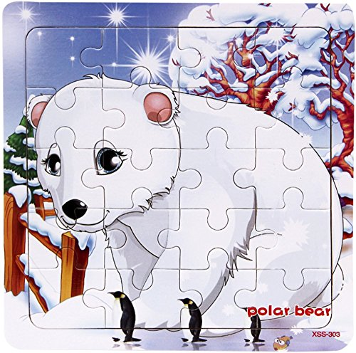 Wooden Polar Bear - Layhome Puzzle 20 Pieces Wooden Puzzles Baby Kids Learning Jigsaw Puzzles Forest Animal (polar bear)