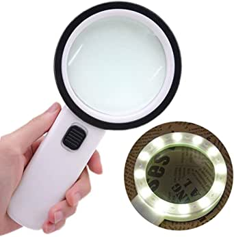30X Magnifying Glass, Handheld Reading Magnifier, 75mm Magnifying Glass Lens, Thickened Rubbery Frame with Non-Slip Soft Handle for Newspaper Reading, Insect, Science for Seniors Kids(1 Pcs)