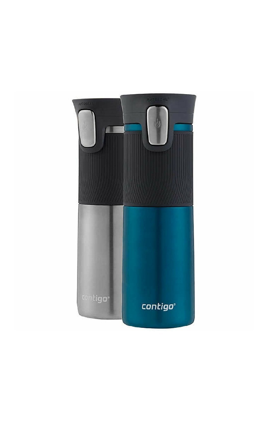Contigo AUTOSEAL Vacuum Insulated Stainless Steel Travel Mugs (2, Biscay Bay/ Stainless Steel)