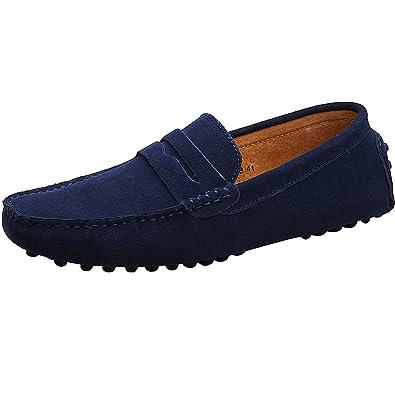 98bbf9d7d38ff rismart Men's Casual Slip On Moccasins Suede Loafers Shoes/Flats  2088(Navy,UK5