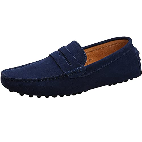 Men's Suede Leather Loafers Classic Slip Ons Buckle Casual Boat Shoes (8.5 US Navy Blue)