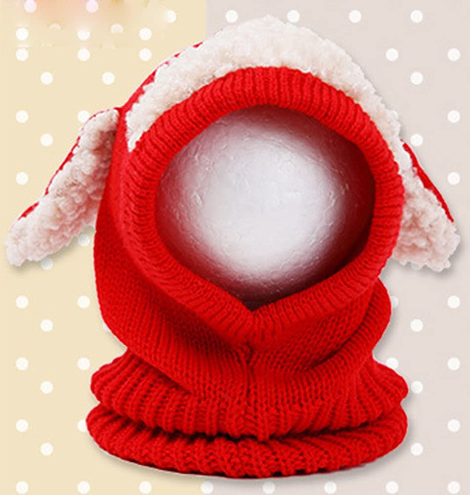 X/&F Baby Boys and Girls Warm Earflap Beanie Caps Winter Knitted Hood Scarf Hats