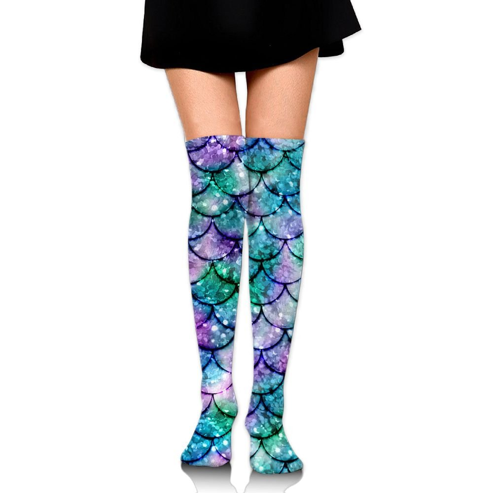 Knee High Socks Mermaid Pattern Women's Work Athletic Over Thigh High Long Stockings