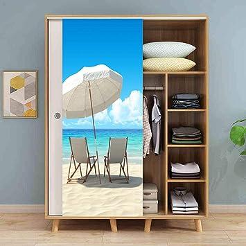 Silla de playa junto al mar Pegatinas de puerta de simulación ...