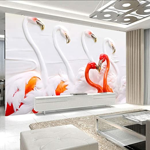 Amazon Com Dalxsh Custom 3d 3d Wall Mural 3d Stereo Flamingo Tv Backdrop Abstract Art Photo Mural Wallpaper Bedroom 350x250cm Kitchen Dining