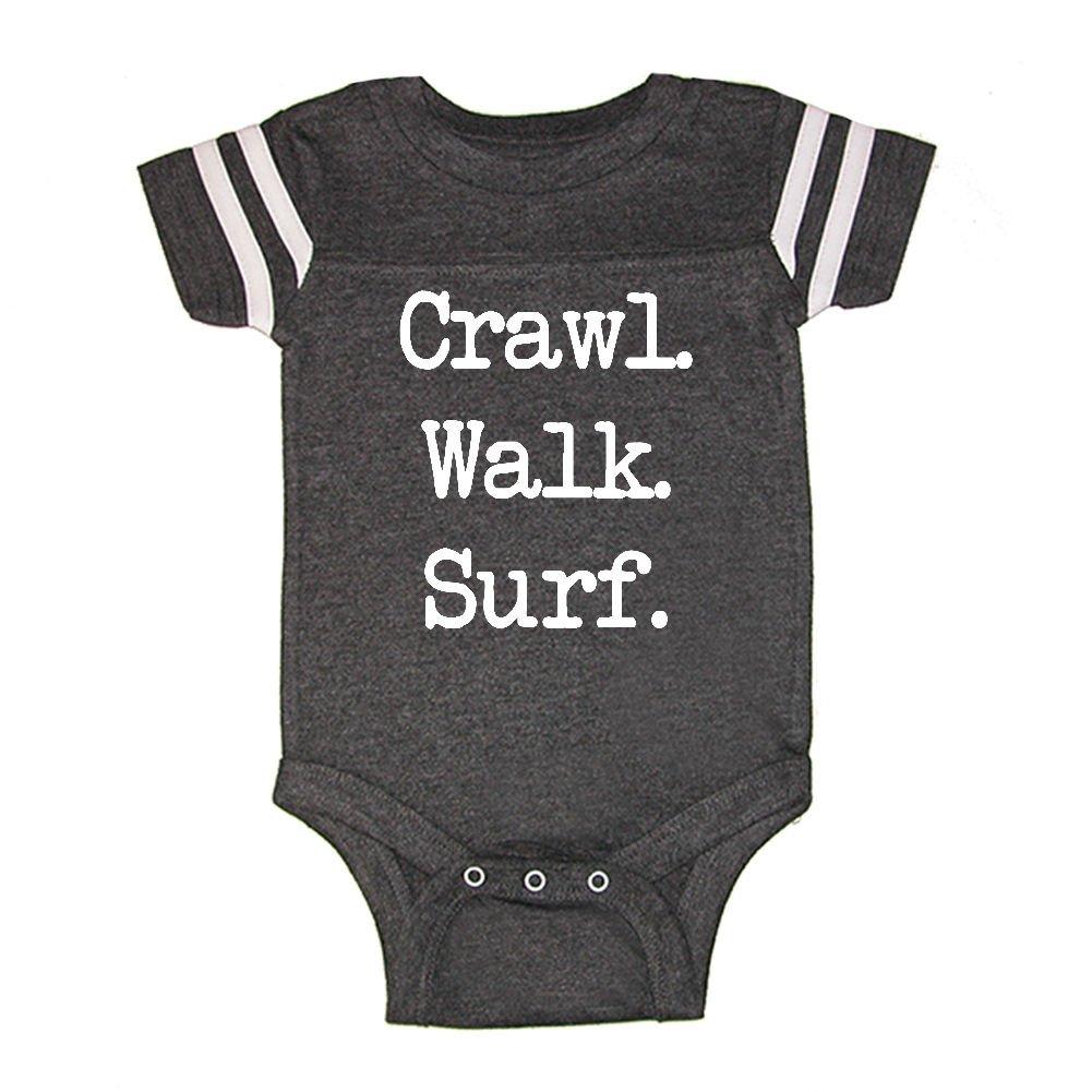 1af814d706a Amazon.com: LOL Baby! Crawl Walk Surf Baby Football Jersey Bodysuit:  Clothing