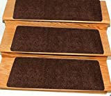 Ottomanson Comfort Collection Soft Solid (Non-Slip) Plush Carpet Stair Treads, 5 Pack, 9'' x 26', Brown