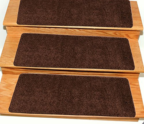 Staircase Step (Ottomanson Comfort Collection Soft Solid (Non-Slip) Plush Carpet Stair Treads, 7 Pack, 9
