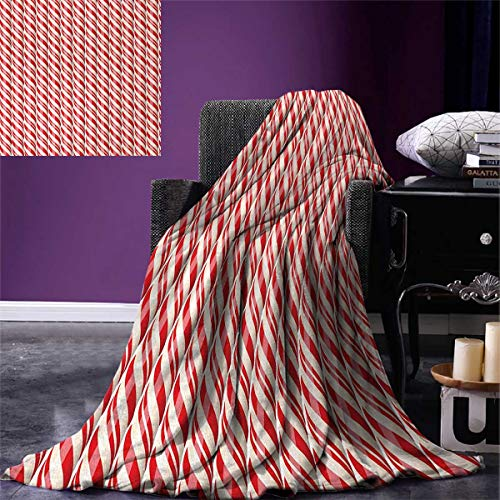 Anniutwo Candy Cane Throw Blanket Red Christmas Candies Pattern Diagonal Stripes Traditional Winter Sweets Warm Microfiber All Season Blanket Bed Couch 50