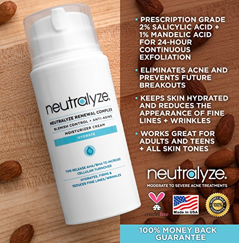 61Ft3KgVvML - Neutralyze Renewal Complex (3.4 oz) - Maximum Strength Anti Acne + Anti Aging Moisturizer Cream With Time-Released 2% Salicylic Acid + 1% Mandelic Acid + Nitrogen Boost Skincare Technology