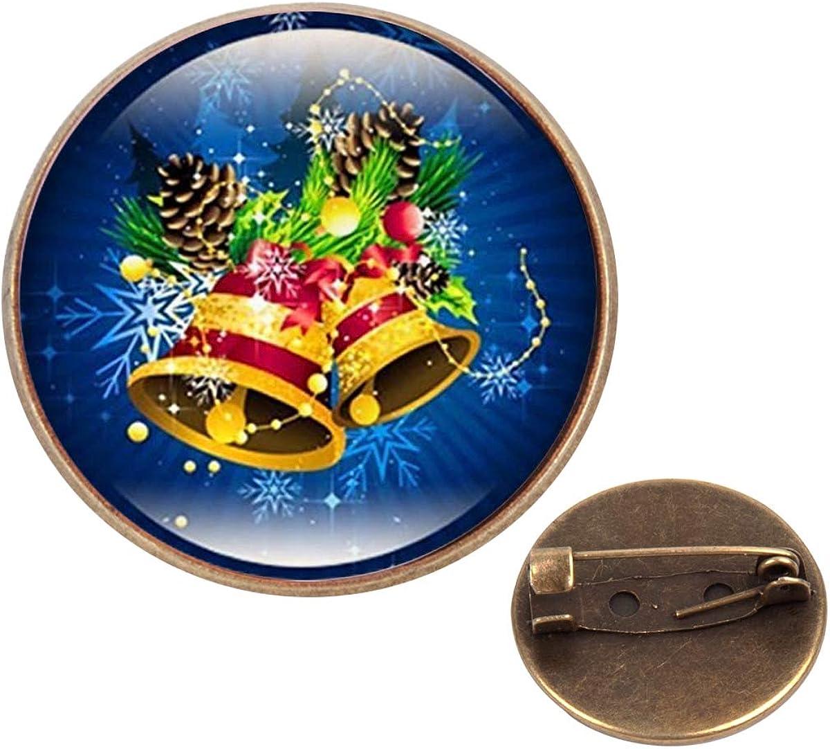 Pinback Buttons Badges Pins Christmas Bell Art Lapel Pin Brooch Clip Trendy Accessory Jacket T-Shirt Bag Hat Shoe