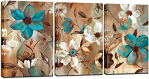 Biuteawal - Abstract Flower Painting on Canvas Wall Art Blue White Floral Picture Print Contemporary Decorative Artwork Framed Ready to Hang for Home Kitchen Bedroom Living Room Decoration