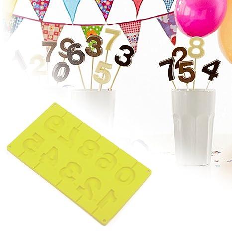Molde para pastel, ABEDOE Molde para pastel de silicona para alimentos 0-9 Número