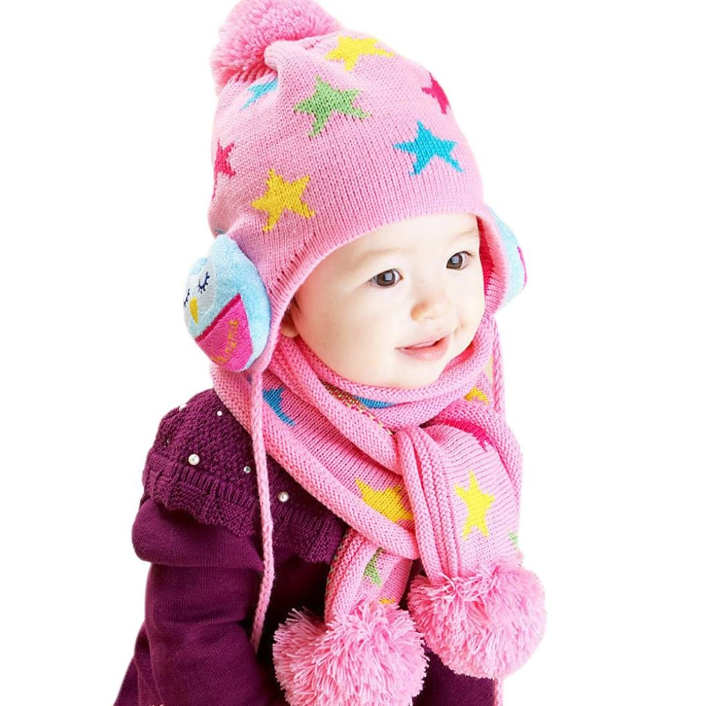 Vovotrade Bufanda de punto de impresión de estrella de niños de bebé + Sombrero Vovotrade -112