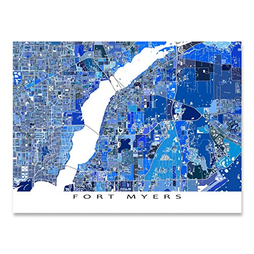 Fort Myers Map Print, Florida, FL City Wall Art, - Myer City