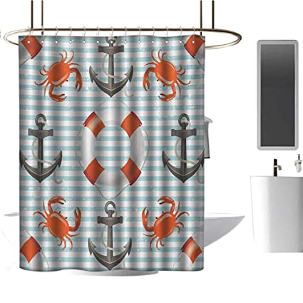 Nautical Shower Curtain Cute Crabs on Striped Print for Bathroom
